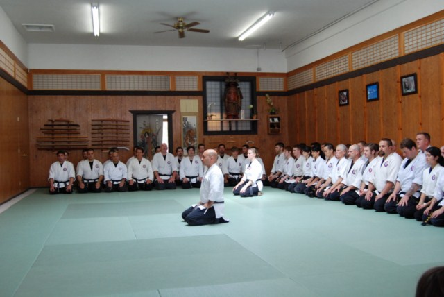 Seibukan Jujutsu Martial Art group-kneeing